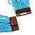 Statement Multistrand Light Blue Glass Bead Necklace with Wood Closure - 60cm Long - view 6
