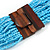 Statement Multistrand Light Blue Glass Bead Necklace with Wood Closure - 60cm Long - view 7