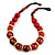 Chunky Colour Fusion Wood Bead Necklace (Cranberry Red/ Natural) - 53cm L
