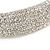 Statement 6 Row Clear Crystal Wide Choker Necklace In Rhodium Plated Metal - 30cm L/ 18cm Ext - view 4