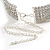 Statement 6 Row Clear Crystal Wide Choker Necklace In Rhodium Plated Metal - 30cm L/ 18cm Ext - view 6