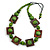 Chunky Square and Round Wood Bead Cotton Cord Necklace ( Green/ Brown) - 74cm L