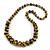 Graduated Wooden Bead Colour Fusion Necklace (Glitter Gold/ Black) - 68cm Long