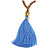 Glass Nugget, Brown/ Black Seed Beaded Necklace with Buddha Lucky Charm/ Cornflower Blue Silk Tassel Pendant - 86cm L/ 13cm Tassel - view 3