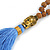 Glass Nugget, Brown/ Black Seed Beaded Necklace with Buddha Lucky Charm/ Cornflower Blue Silk Tassel Pendant - 86cm L/ 13cm Tassel - view 6
