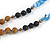 Glass Nugget, Brown/ Black Seed Beaded Necklace with Buddha Lucky Charm/ Cornflower Blue Silk Tassel Pendant - 86cm L/ 13cm Tassel - view 5