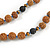 Glass Nugget, Brown/ Black Seed Beaded Necklace with Buddha Lucky Charm/ Cornflower Blue Silk Tassel Pendant - 86cm L/ 13cm Tassel - view 10