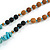 Turquoise Nugget, Brown/ Black Seed Beaded Necklace with Buddha Lucky Charm/ Mint Green Silk Tassel Pendant - 86cm L/ 13cm Tassel - view 5