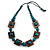 Chunky Square and Round Wood Bead Cotton Cord Necklace ( Teal/ Brown) - 78cm L