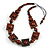 Chunky Square and Round Wood Bead Cotton Cord Necklace ( Brown) - 74cm L