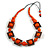 Chunky Square and Round Wood Bead Cotton Cord Necklace ( Orange/ Brown) - 78cm L