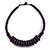 Deep Purple Button, Round Wood Bead Wire Necklace - 46cm L
