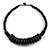 Black Button, Round Wood Bead Wire Necklace - 46cm L