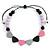 Black/ Grey/ Pink/ Lavender Resin Bead Geometric Cotton Cord Necklace - 44cm L - Adjustable up to 50cm L