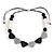Black/ White/ Grey Resin Bead Geometric Cotton Cord Necklace - 44cm L - Adjustable up to 50cm L
