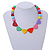Pastel Multicoloured Resin Bead Geometric Cotton Cord Necklace - 44cm L - Adjustable up to 50cm L - view 2