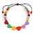 Pastel Multicoloured Resin Bead Geometric Cotton Cord Necklace - 44cm L - Adjustable up to 50cm L