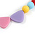 Pastel Multicoloured Resin Bead Geometric Cotton Cord Necklace - 44cm L - Adjustable up to 50cm L - view 4
