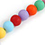 Pastel Multicoloured Resin Bead Geometric Cotton Cord Necklace - 44cm L - Adjustable up to 50cm L - view 5