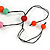 Pastel Multicoloured Resin Bead Geometric Cotton Cord Necklace - 44cm L - Adjustable up to 50cm L - view 6