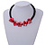Black/ Red Glass Bead with Shell Floral Motif Necklace - 48cm Long - view 2