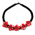 Black/ Red Glass Bead with Shell Floral Motif Necklace - 48cm Long - view 3