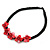 Black/ Red Glass Bead with Shell Floral Motif Necklace - 48cm Long - view 4