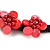 Black/ Red Glass Bead with Shell Floral Motif Necklace - 48cm Long - view 5