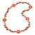 Long Peach Orange Pearl, Shell and Resin Ring with Silver Tone Chain Necklace - 104cm Long - view 3