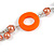 Long Peach Orange Pearl, Shell and Resin Ring with Silver Tone Chain Necklace - 104cm Long - view 5