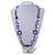 Long Purple Pearl, Shell and Resin Ring with Silver Tone Chain Necklace - 104cm Long - view 3