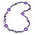 Long Purple Pearl, Shell and Resin Ring with Silver Tone Chain Necklace - 104cm Long - view 4