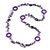 Long Purple Pearl, Shell and Resin Ring with Silver Tone Chain Necklace - 104cm Long - view 5