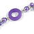Long Purple Pearl, Shell and Resin Ring with Silver Tone Chain Necklace - 104cm Long - view 6