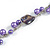 Long Purple Pearl, Shell and Resin Ring with Silver Tone Chain Necklace - 104cm Long - view 7