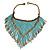 Statement Glass Bead Bib Style/ Fringe Necklace In Light Blue/ Bronze - 40cm Long/ 17cm Front Drop