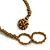 Statement Glass Bead Bib Style/ Fringe Necklace In Bronze - 40cm Long/ 17cm Front Drop - view 4