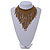 Statement Glass Bead Bib Style/ Fringe Necklace In Bronze - 40cm Long/ 17cm Front Drop - view 2