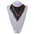 Statement Glass Bead Bib Style/ Fringe Necklace In Black/ Bronze - 40cm Long/ 17cm Front Drop - view 2