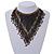 Statement Glass Bead Bib Style/ Fringe Necklace In Black/ Bronze - 40cm Long/ 17cm Front Drop - view 3