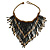 Statement Glass Bead Bib Style/ Fringe Necklace In Black/ Bronze - 40cm Long/ 17cm Front Drop
