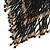 Statement Glass Bead Bib Style/ Fringe Necklace In Black/ Bronze - 40cm Long/ 17cm Front Drop - view 4