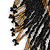 Statement Glass Bead Bib Style/ Fringe Necklace In Black/ Bronze - 40cm Long/ 17cm Front Drop - view 6