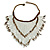 Statement Glass Bead Bib Style/ Fringe Necklace In Snow White/ Bronze - 40cm Long/ 17cm Front Drop