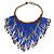 Statement Glass Bead Bib Style/ Fringe Necklace In Blue/ Bronze - 40cm Long/ 17cm Front Drop