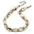 Exquisite Faux Pearl & Shell Composite Silver Tone Link Necklace In Cream/ Antique White - 44cm L/ 7cm Ext