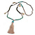 Trendy Turquoise, Sea Shell, Faux Tree Seed, Brown Glass Bead Beige Cotton Tassel Long Necklace - 90cm L/ 12cm Tassel - view 3