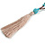 Trendy Turquoise, Sea Shell, Faux Tree Seed, Brown Glass Bead Beige Cotton Tassel Long Necklace - 90cm L/ 12cm Tassel - view 4