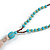 Trendy Turquoise, Sea Shell, Faux Tree Seed, Brown Glass Bead Beige Cotton Tassel Long Necklace - 90cm L/ 12cm Tassel - view 5