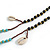 Trendy Turquoise, Sea Shell, Faux Tree Seed, Brown Glass Bead Beige Cotton Tassel Long Necklace - 90cm L/ 12cm Tassel - view 6